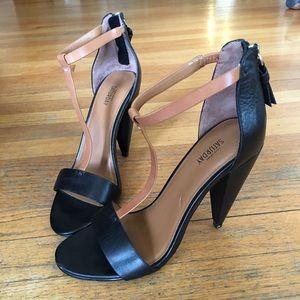 Black and brown heels